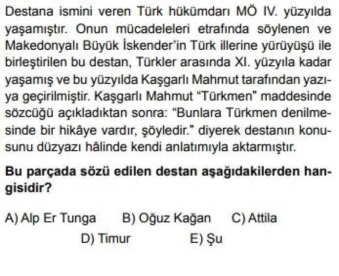 10. Sınıf Türk Dili Edebiyatı Test 11 Destan – Efsane - Soru 1