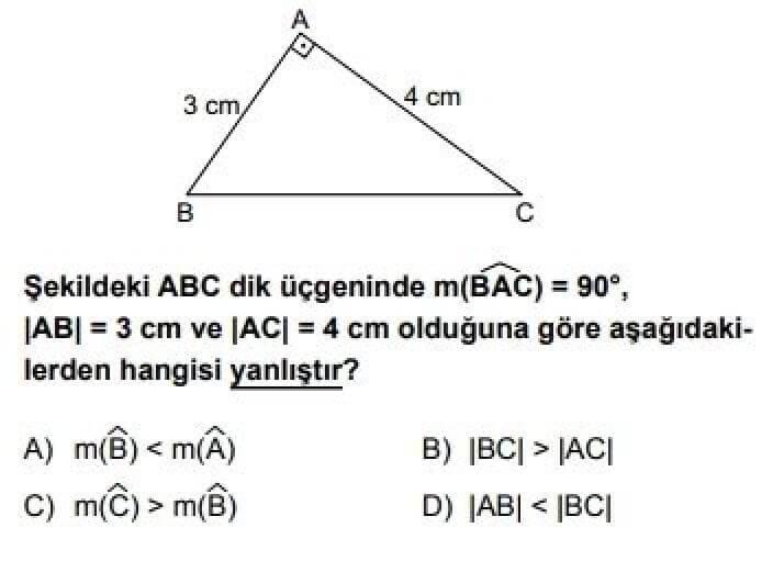 8. Sınıf Matematik Test 17 Üçgenler ve Üçgenlerde Ölçme – 3 - Soru 7