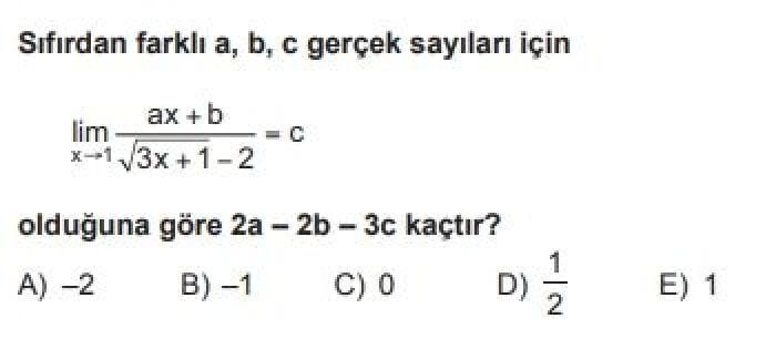 YKS Matematik B Test 54 Limit – 2 - Soru 11
