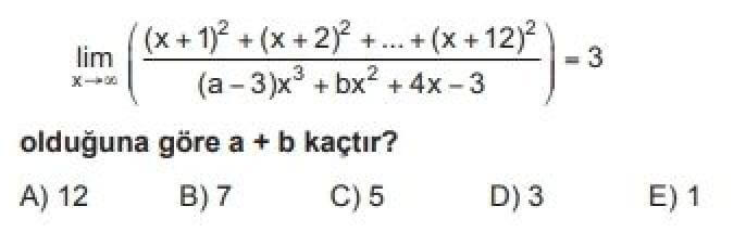 YKS Matematik B Test 54 Limit – 2 - Soru 5