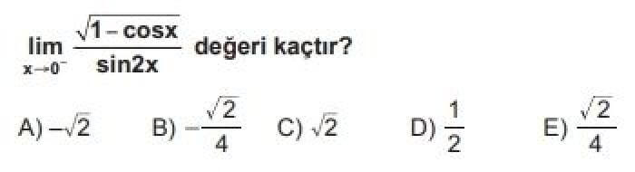 YKS Matematik B Test 54 Limit – 2 - Soru 8