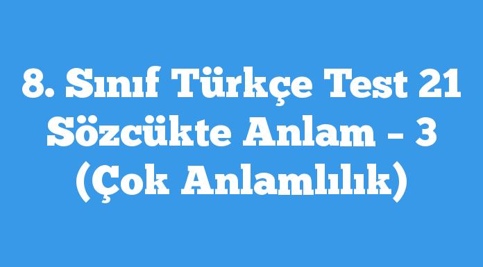 8. Sınıf Türkçe Test 21 Sözcükte Anlam – 3 (Çok Anlamlılık)